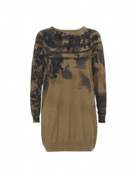 ALLUSION: Caramel long-line sweater with print placements
