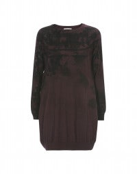 ALLUSION: Burgundy long-line sweater with print placements