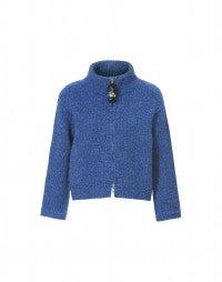 LAZULI: Cardigan aus meerblauem Donegal-Tweed