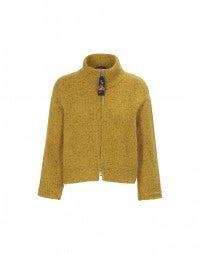 LAZULI: Cardigan in tweed Donegal senape