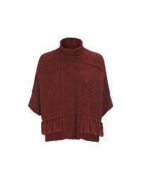 SAMOVA: Roter Kurzarm-Pullover mit Flechtmuster