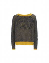 SALON: Marine-mustard mohair mix jumper