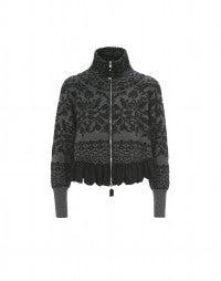 TAPIS: Grey floral frill hem zip cardigan