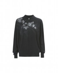 GRISSAILLE: Grey floral print seamless knit