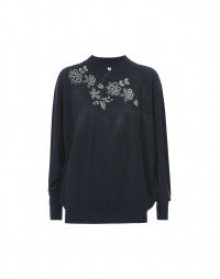 GRISSAILLE: Blue floral print seamless knit