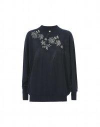 GRISSAILLE: Blauer, nahtloser Pullover mit Blumendruck