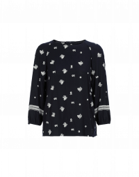 HYMN: Round neck top in navy with white embroidered flowers