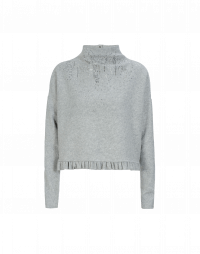 QUIBBLE: Pale grey funnel neck jersey top with frill hem