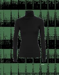 LOGICAL: Top nero a collo alto in jersey di cotone stretch
