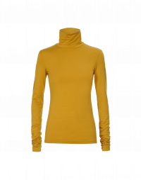 LOGICAL: Turtleneck top in saffron cotton stretch jersey