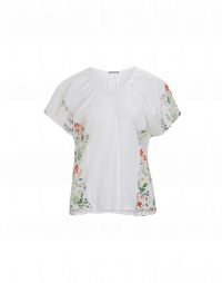 PLEASING: Maglia bianca con arricciature e inserti floreale