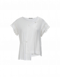 PATIENCE: T-shirt asimmetrica con maniche in pizzo