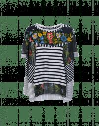 EXHIBIT: Maglia con pannelli multipli in jersey e voile stampato