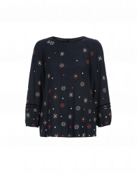 HYMN: Round neck top with stylised embroidered flowers
