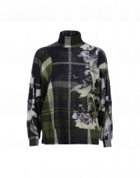 RESHUFFLE: Soft turtleneck top in green tartan and flower print