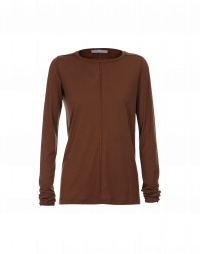 WORTHWHILE: Long sleeved t-shirt in chestnut brown