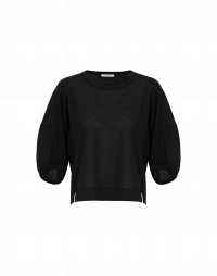 UNRIVALLED: Full sleeved t-shirt in fine black jersey