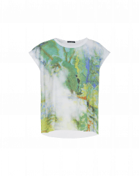 PICTURESQUE: T-shirt in jersey stampato e tessuto rigato