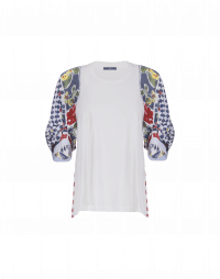 BETWIXT: Cream jersey and multicolour printed voile top