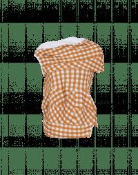 JOSTLE: Asymmetrically draped camel gingham top