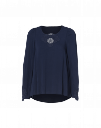 EARLY: Scoop neck top in navy viscose