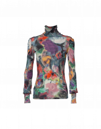 GREETING: Painted water colour floral print roll neck top