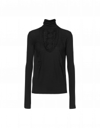 DIGNITY: Black turtle neck top with ruffle bib