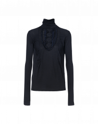 DIGNITY: Navy turtle neck top with ruffle bib