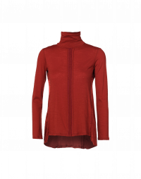 SERENADE: Red jersey and cupro roll-neck top