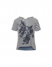 HORIZON: Navy and ecru stripe t-shirt with flower print