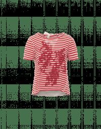 HORIZON: Red and ecru stripe t-shirt with flower print