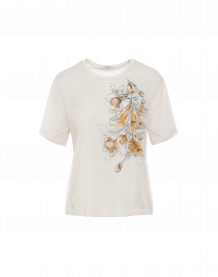 VIEW POINT: T-shirt in jersey con ricamo e stampa frontale