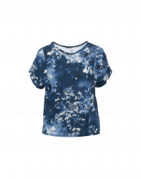 MEETING: Multi-panel t-shirt in blue, navy and black floral