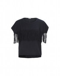 SHRED: Dark blue cropped fringed top