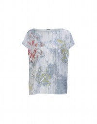 STENCIL: Abstract rose and broken stripe print top