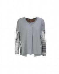 ASIDE: Slim-stripe long sleeve jersey top