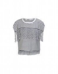 GAZEBO: Black stripe jersey fringed tee