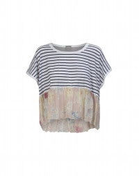 BUNK: Pink floral and Breton stripe square cut top