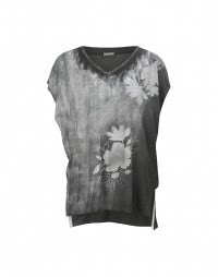 GESSO: T-shirt grigia con stampa floreale