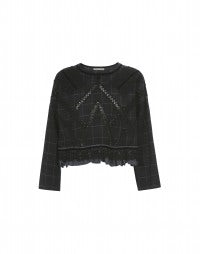 BANDOLA: Black check wool top with insets and applique
