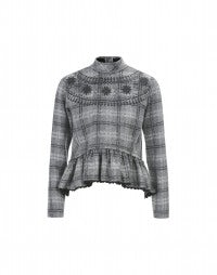MIASMA: Pullover aus grau karierter Wolle