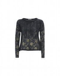 TRIAD: Damask metallic jersey top with flock print
