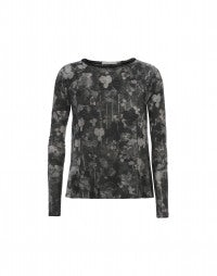 MAHONIA: Grey and black florals with stripe long sleeve top