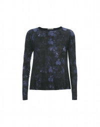 MAHONIA: Blue and black florals with stripe long sleeve top