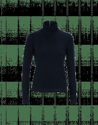 LURE: Top a collo alto in jersey misto lana blu navy