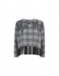 DAPPLE: Grey tartan and patent-effect sweater