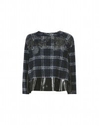 DAPPLE: Blue tartan and patent-effect sweater