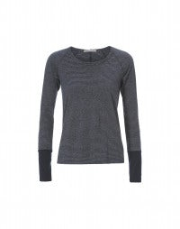 STROBE: Navy and grey stripe long sleeve jersey top