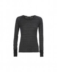 STROBE: Black and grey stripe long sleeve jersey top