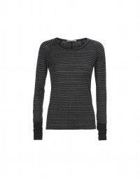 STROBE: Top a maniche lunghe in jersey a righe grigio mélange e nere